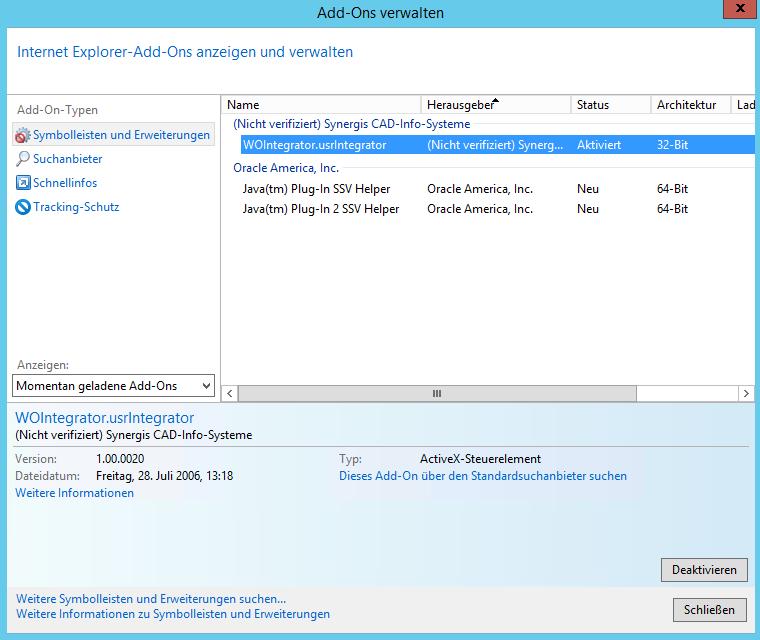 Aktivierung des WebOffice Integrator im Internet Explorer