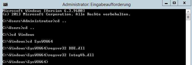 Administratorkonsole (CMD) zur Registierung der Integrator Bibliotheken