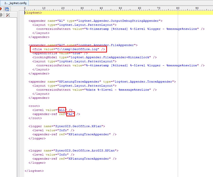 Bearbeiten der Logkategorie in _log4net.config