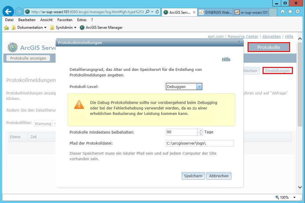Festlegen des Protokoll-Levels (Loglevels) im ArcGIS Server Manager