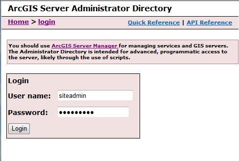 ArcGIS Server Administrator Verzeichnis