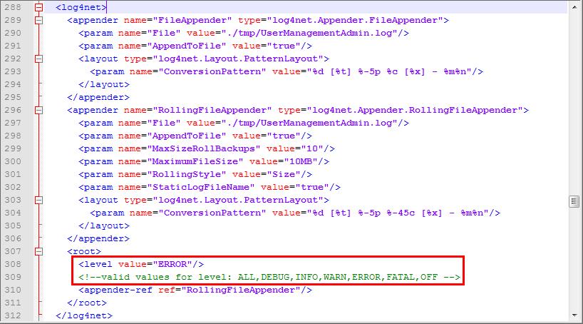 Definieren der WebOffice usermanagement Log Levels in der Datei web.config