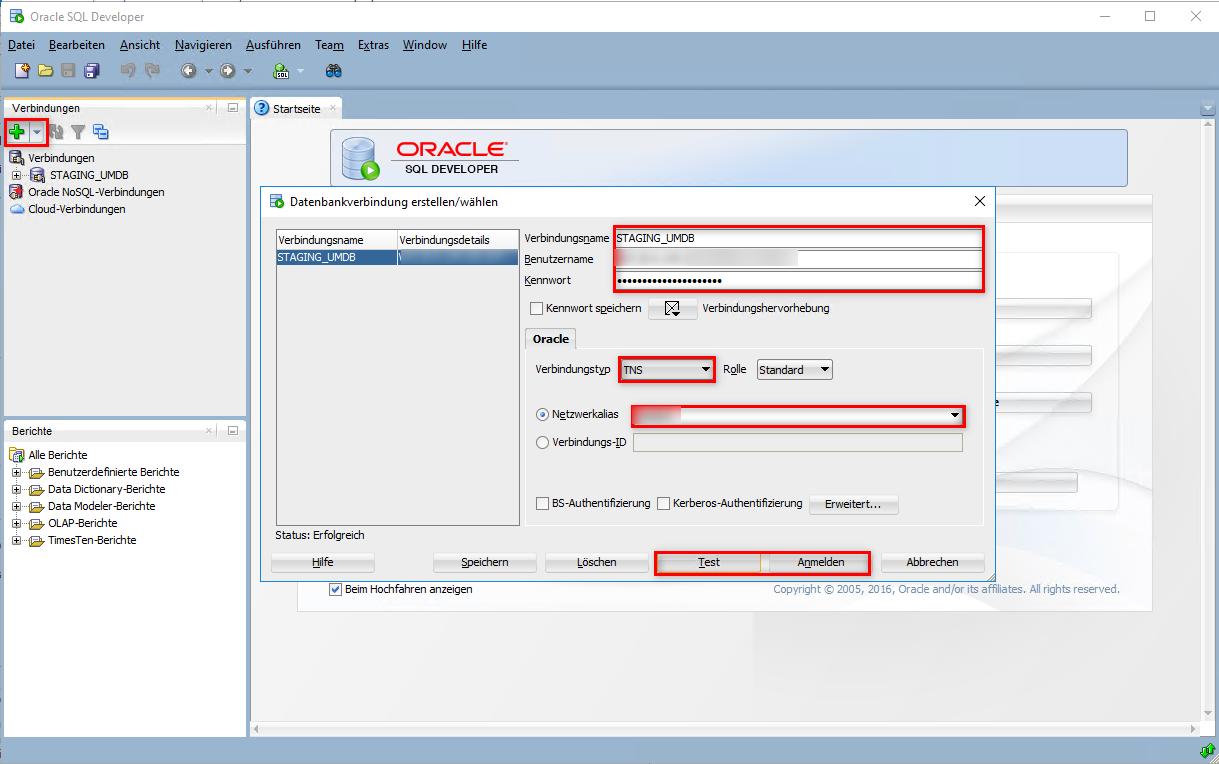 Verbindung zur Oracle Datenbank über SQL Developer