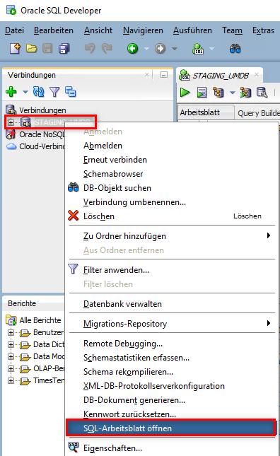 SQL-Arbeitsblatt öffnen