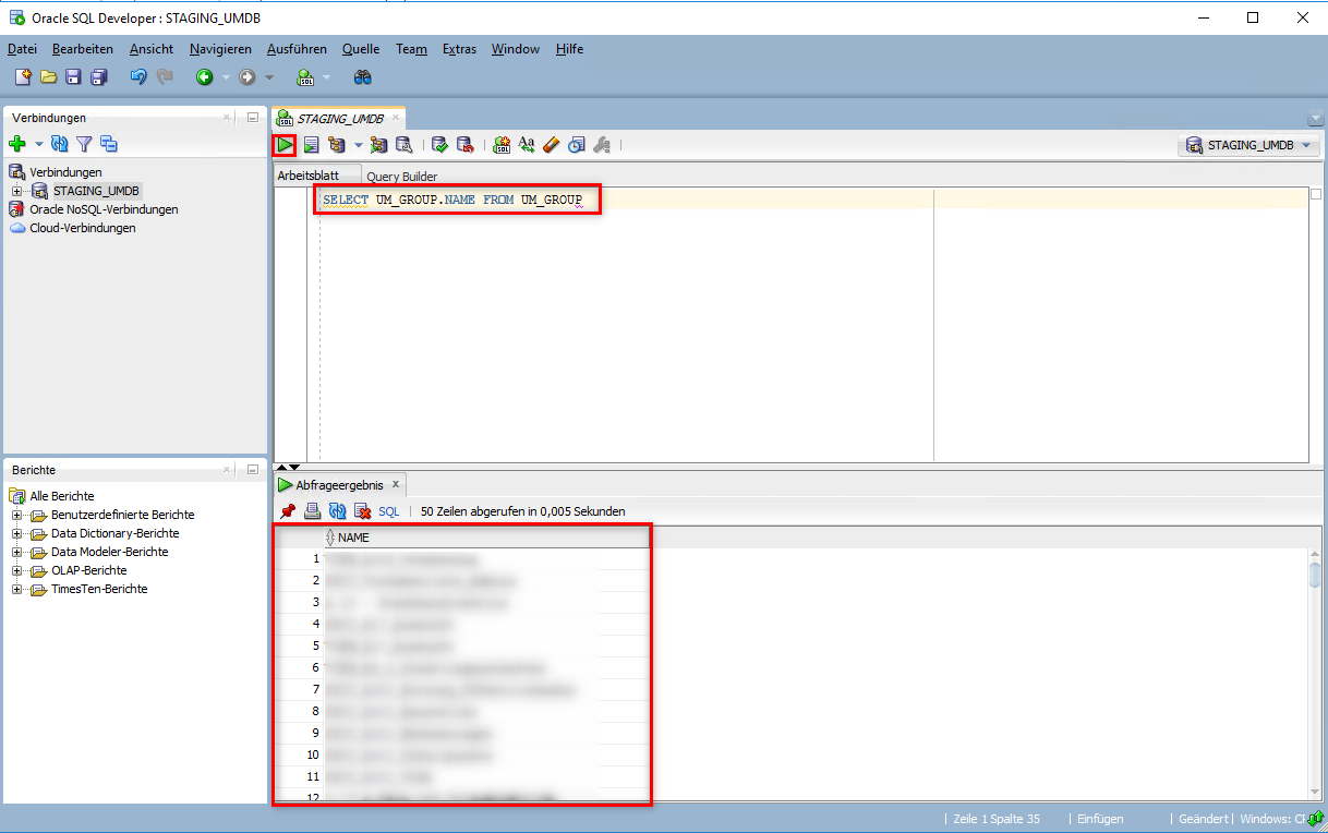 Abfragen der Usermanagement Gruppen aus der Oracle Datenbank