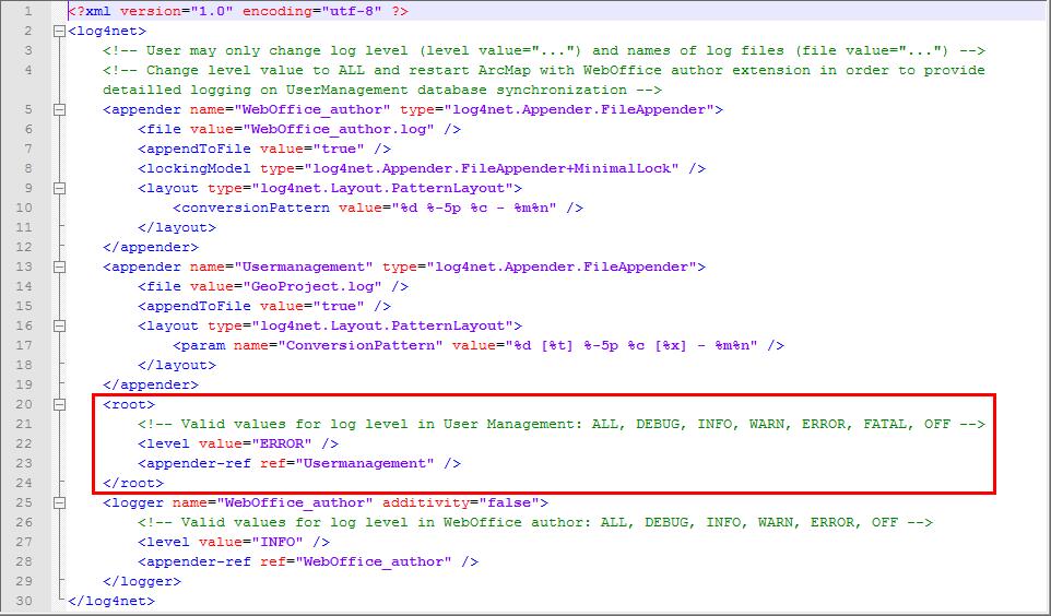 WebOffice_author-Log.config - Set log levels for GeoProject.log