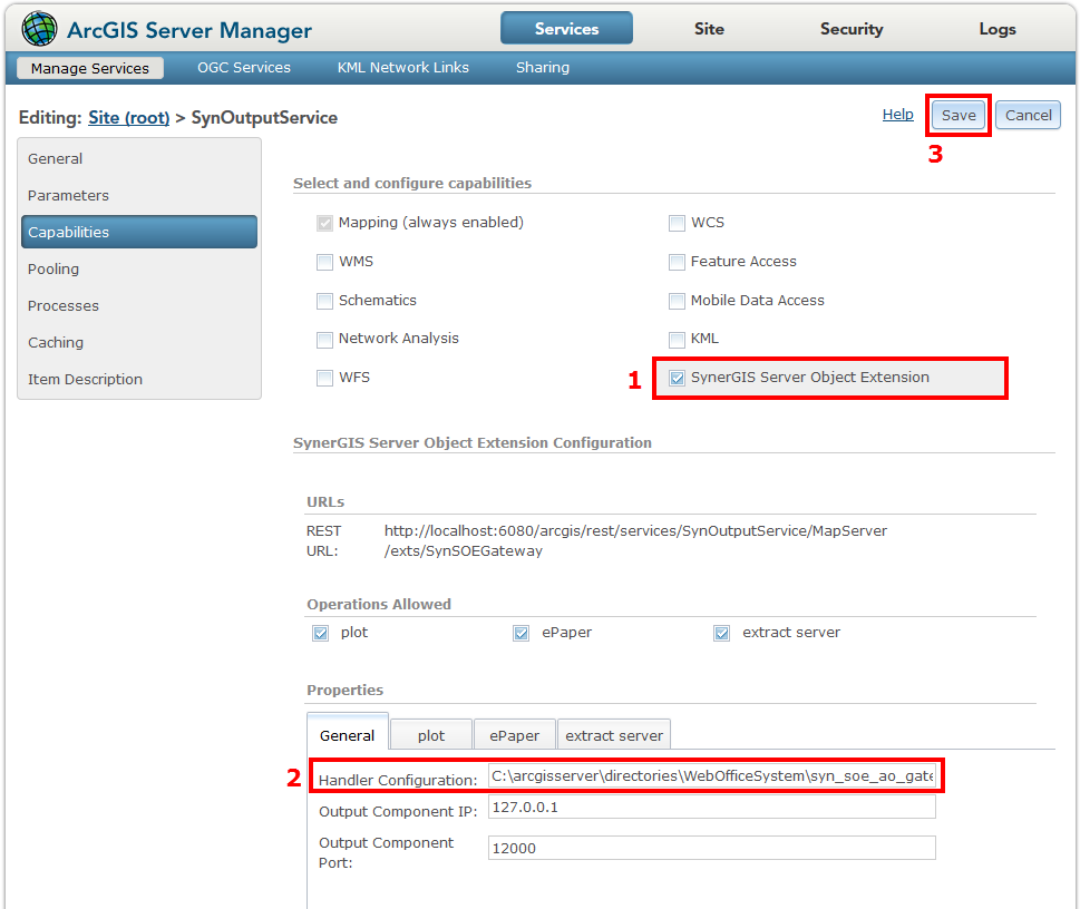 Checking the SOE within the ArcGIS Server Manager