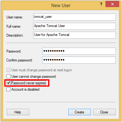 Creating a local user for Apache Tomcat