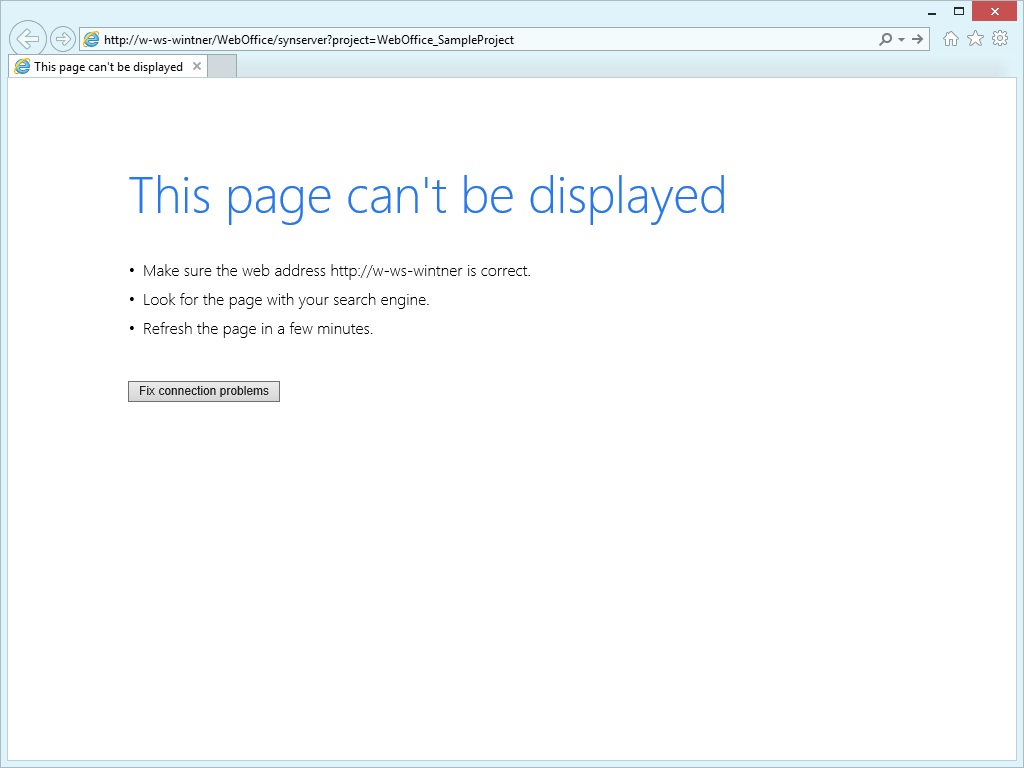 The browser cannot access WebOffice 10.8 SP2