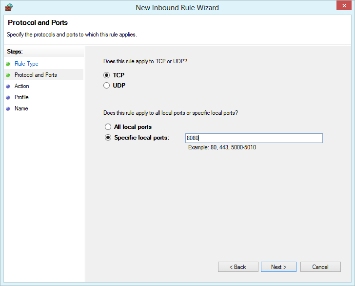 Windows Firewall with Advanced Security - specify port 8080
