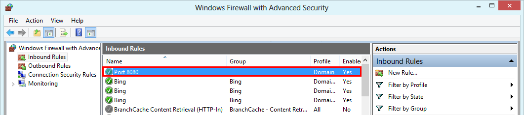 Windows Firewall with Advanced Security - active rule opening port 8080
