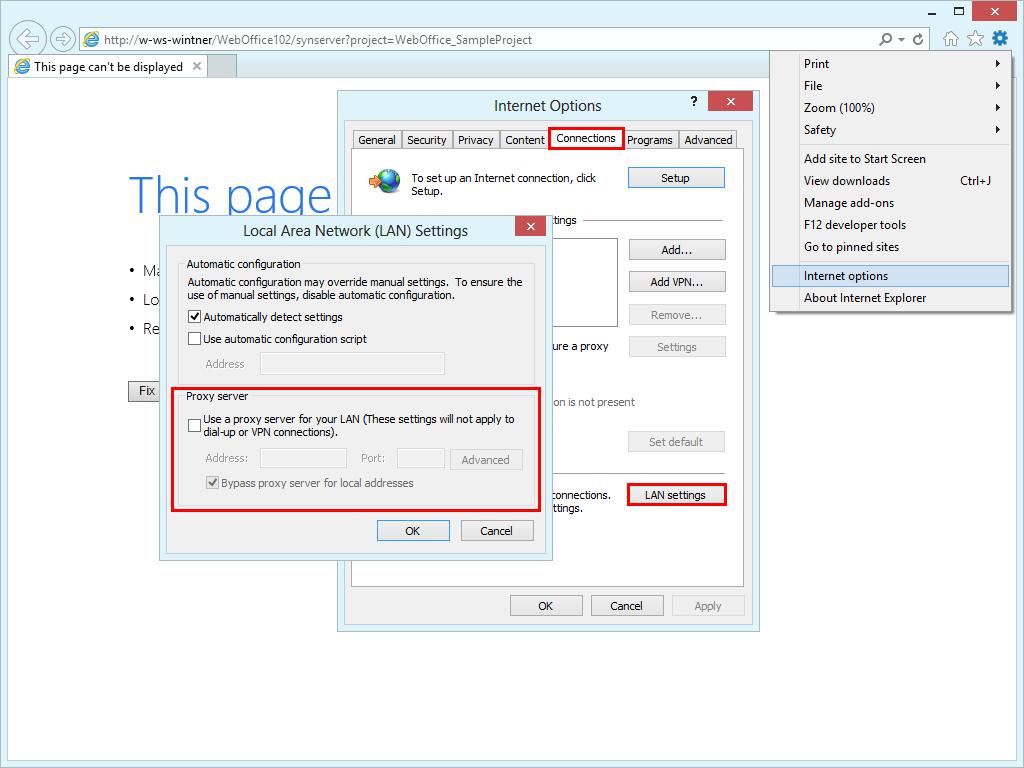 Configure proxy server settings in Internet Explorer