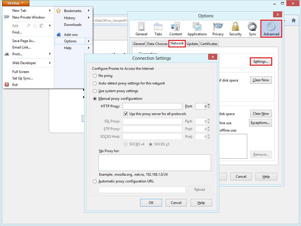 Configure proxy server settings in Mozilla Firefox