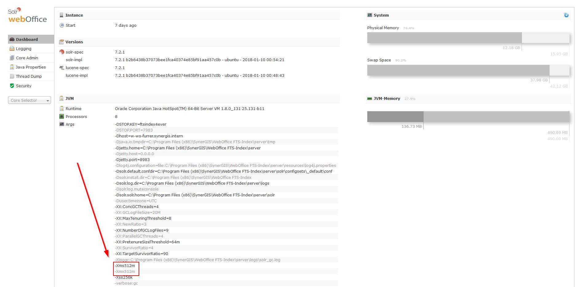 Current memory settings in Solr Web-Admin
