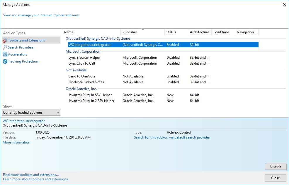 Activation of WebOffice Integrator in Internet Explorer