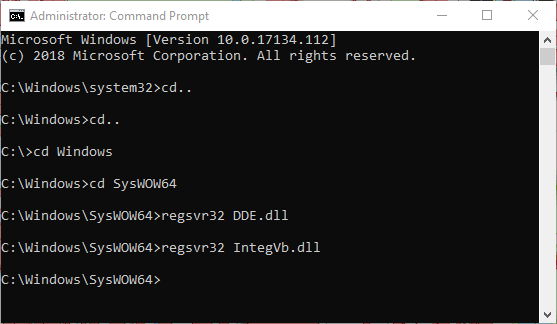 Command Prompt (CMD) to register the integrator libraries