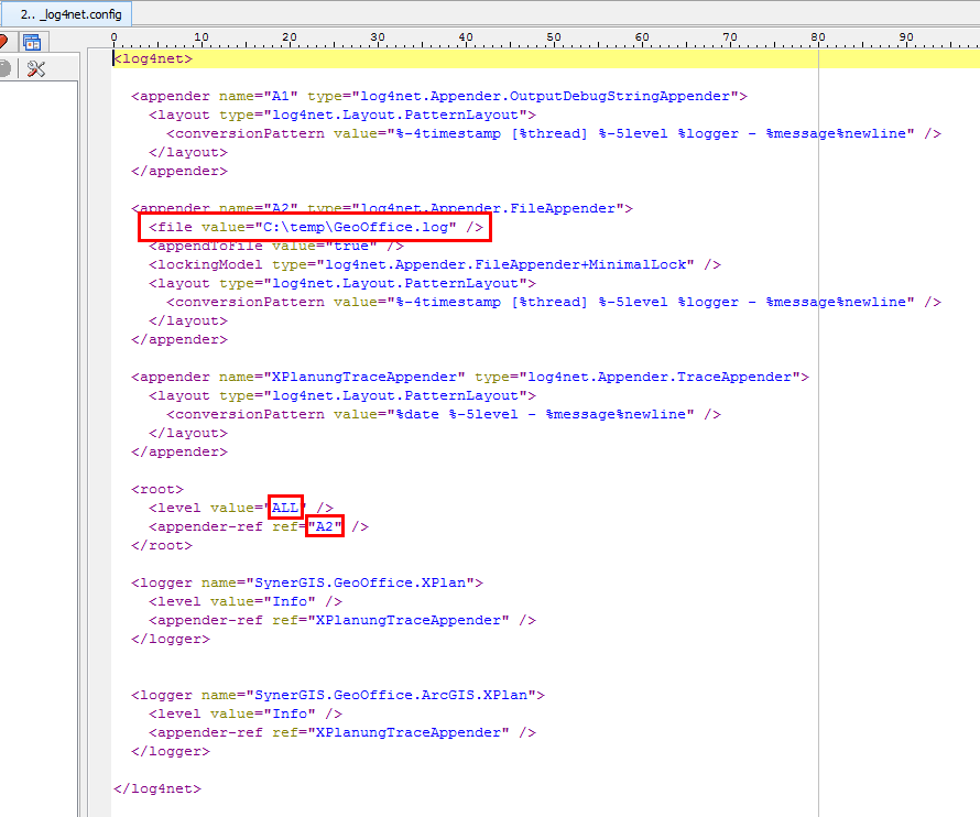 Edit the log category in _log4net.config