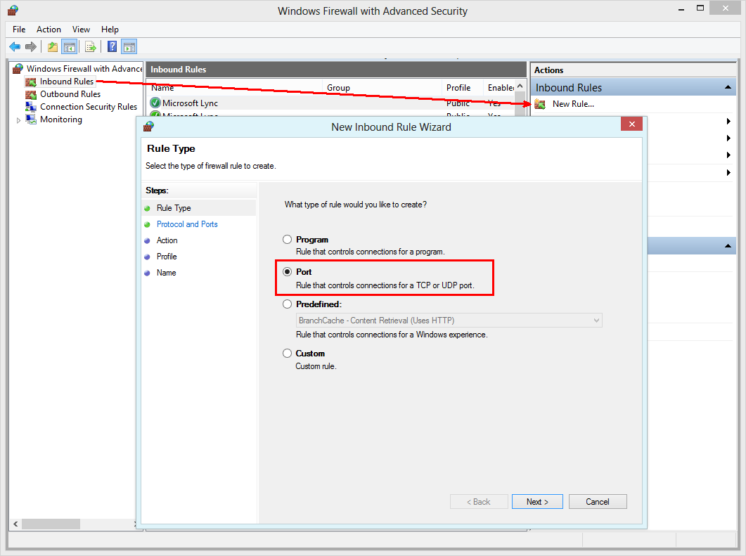 Windows Firewall with Advanced Security - Create a new inbound rule