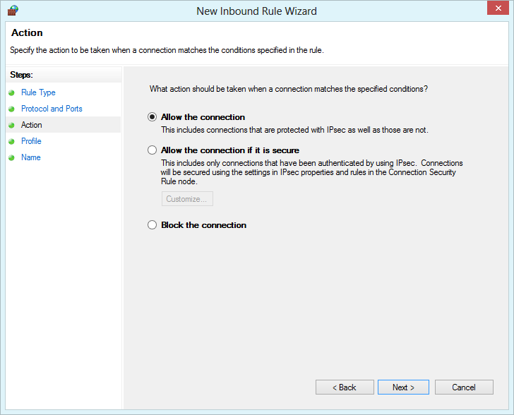 Windows Firewall with Advanced Security - allow the connection