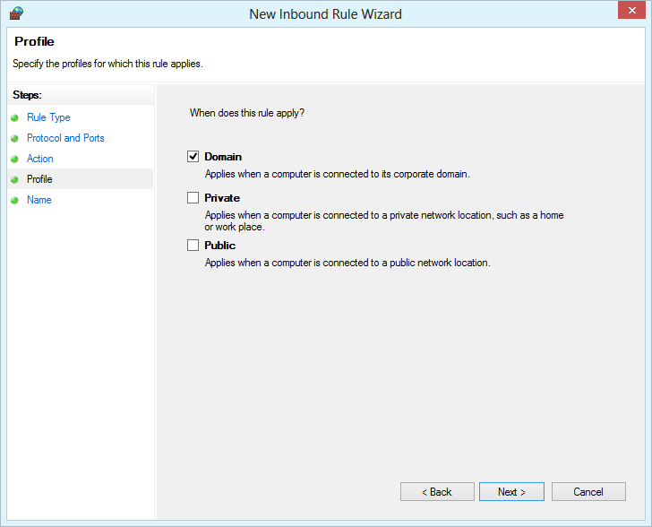 Windows Firewall with Advanced Security - choose the profile