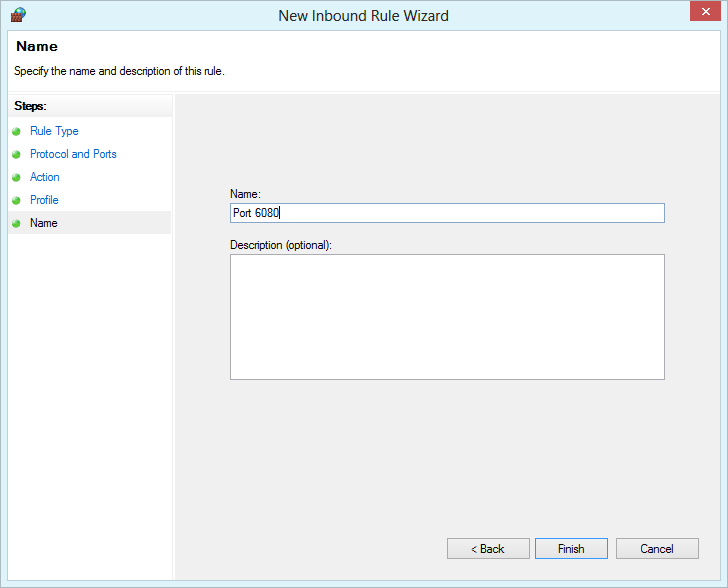 Windows Firewall with Advanced Security - enter a name