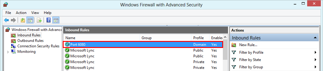 Windows Firewall with Advanced Security - active rule opening port 6080