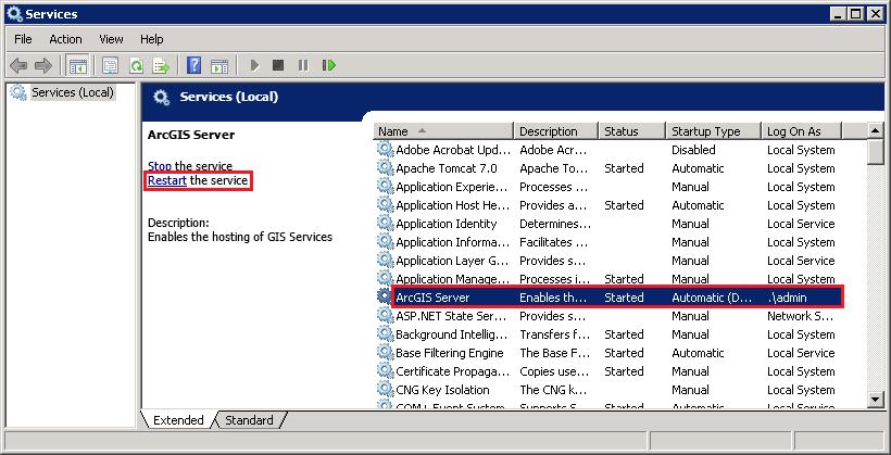 Restart ArcGIS Server service