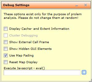 Debug settings