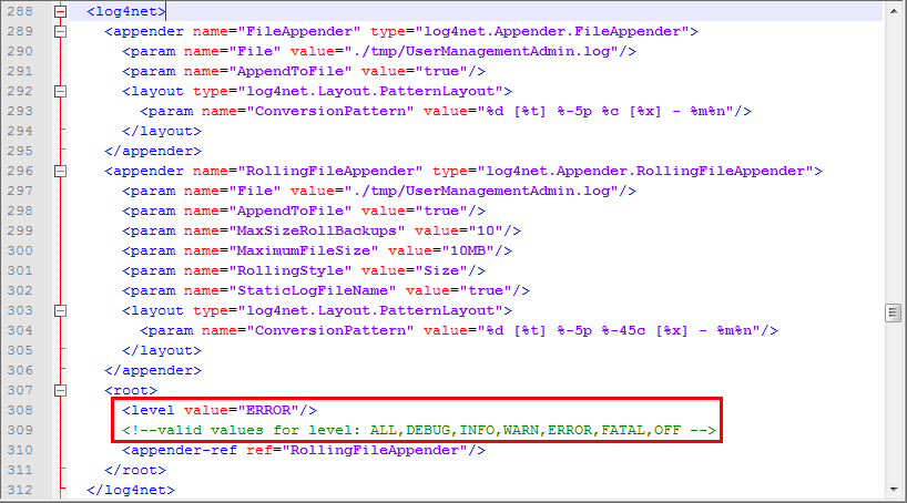 Define the WebOffice usermanagement log level in the file web.config