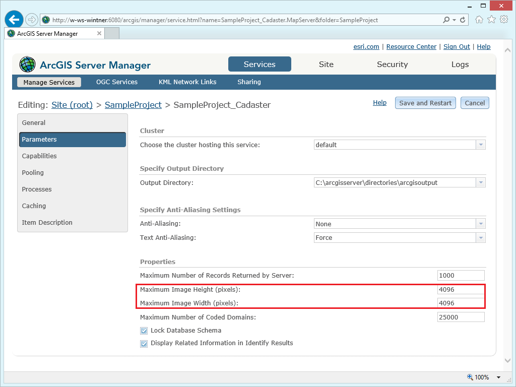 Increase the image dimension values of a service in ArcGIS Server Manager
